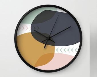 """Modern Wall Clock, Modern Clock, Abstract Art Clock, Wall Decor,  Modern Art Clock, Home Decor, Geometric Wall Clock 10"""", Graphic Wall Clock"""