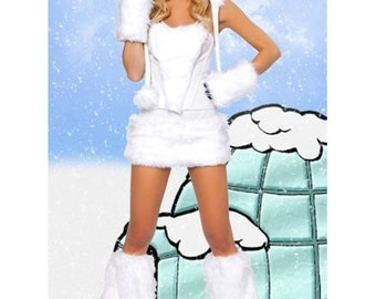 Ladies woman's white  polar bear snow wolf fancy dress costume outfit will fit SIZE 2 4 6