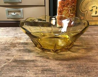 Vintage Bowl Amber Orange Glass Scalloped Rim