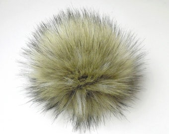 Size XL ( light beige- black tips ) faux fur pom pom 7 inches /17 cm