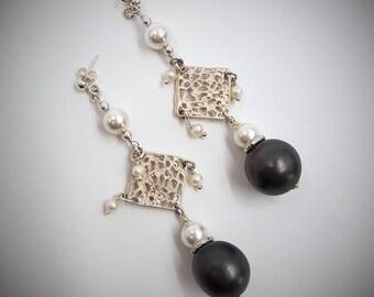Orecchini ceramica perla di fiume Majorca argento strass