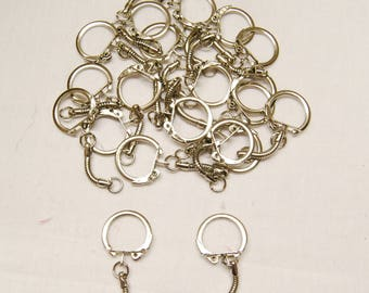 19mm Silver Locking Clasp With Snakechain - Metal With Locking Ring with Chain - Variety Of Pack Sizes Available