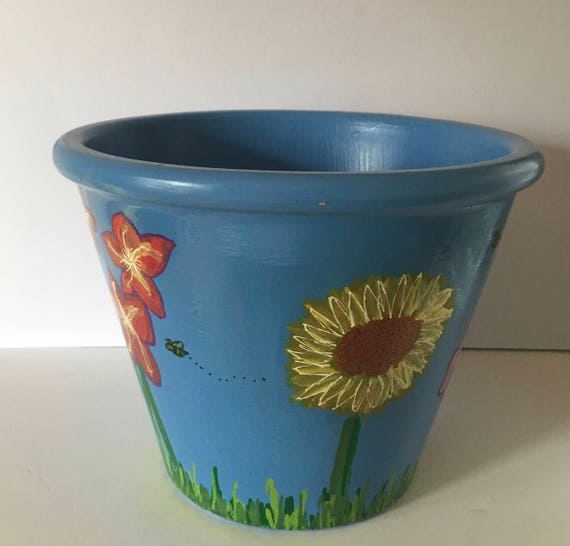 Floral Hand Painted Flower Pot, Large Flower Planter with Sunflowers, Tulips, Daffodil, Pansies Plant Pot
