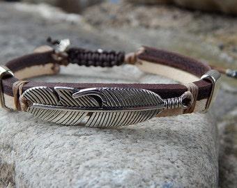 Bracelet strap leather bi color large pen silver