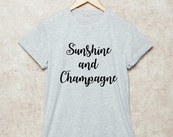 Sunshine and Champagne Shirt Funny T Shirts T-Shirt Party Grey White Black Size S , M , L , XL , 2XL , 3XL