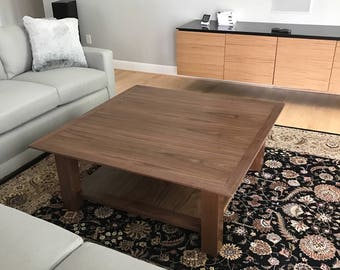 48x48 two tier walnut coffee table