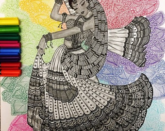 Indian dancer - Zentangle inspired art - homedecor art print