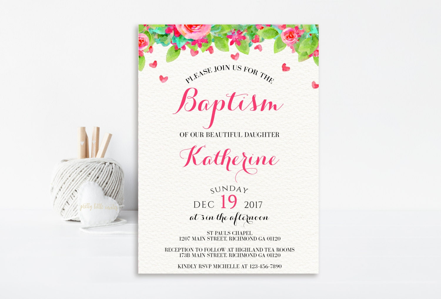 Floral baptism invitation christening invitation floral baptism floral baptism invitation christening invitation floral baptism printable invitation first communion inviation baby girl baptism pink stopboris Images