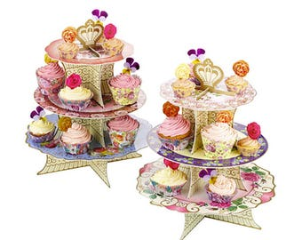 Floral, Cupcake Stand, Tiered Cupcake Stand, Cake Stand, Cupcake Tower, Dessert Tower, Cupcake Tiers, Bridal Shower, Cupcake Display