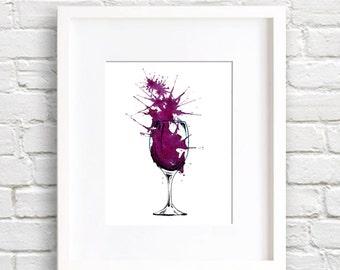 Cabernet Wine Art Print - Wall Decor - Watercolor Painting