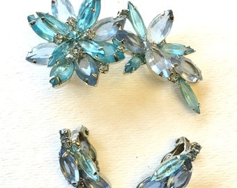 Beautiful Ice Blue Rhinestone Brooch and Earring Set
