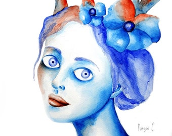 The Wendigo Woman Watercolour Original Art Print