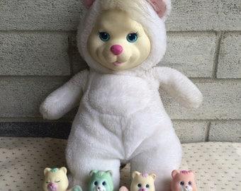 Vintage Hasbro Cub Surprise, Surprise White Mama Bear WITH BABIES, Surprise Bear