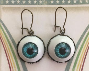 "Eyeball Earrings From""The Great Darabardi"",Circus Follies Earrings,Eye Earrings,Circus Earrings,Flytomeshop,Fly To Me,Karen Minkel"