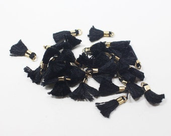 T000115/Black/Gold plated over brass+Cotton/Mini Thread Tassel/10mm x 18mm approx/40pcs