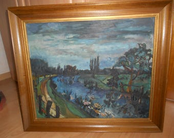 """Oil painting, """"The Hamme in Worpswede""""."""