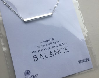 Life's a balance white Gold dipped Balance Pendant chain necklace with Sentiment card gift quote quotes