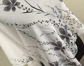 Scarf shawl wrap sarong cover up Fichu with flowers black grey silver white multi birthday anniversary gift wedding party