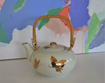 Vintage Gold Butterfly Teapot Takahashi Japan San Francisco Porcelain