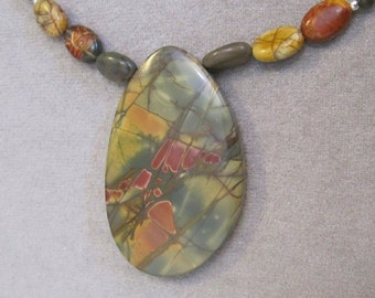 Red Creek Jasper Asymmetrical Teardrop Necklace - g0512n41
