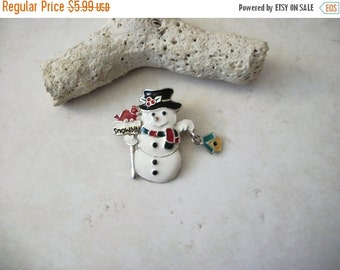 ON SALE Vintage Enamel Snowman With Dangling Bird House Pin 110816