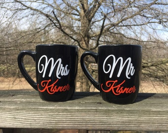 Pair of Personalized Mr. & Mrs. Coffee Mugs - Wedding/Bridal