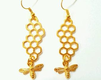Bee earrings, honeycomb earrings, honey bee earrings, bee jewelry, honeycomb jewelry, bumblebee jewelry, gold bee earrings, insect jewelry