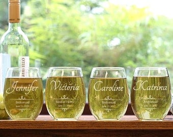Set of 7 Personalized Bridesmaid Stemless Wine Glasses, Personalized Bridesmaid, Bachelorette Wine Glasses,  Wine Cups, Party Favors