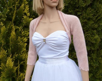 Light Pink Delicate  Bridal Bolero Shrug,  Wedding Bolero Shrug