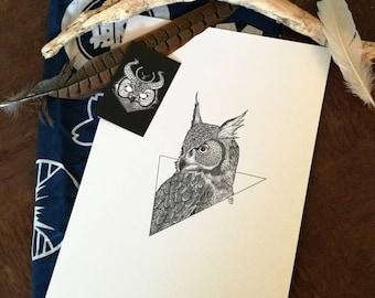 Owl in triangle (orignal design) - PRINT A4