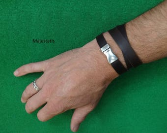 leather bracelet, triple wrap leather wristband with silver plated magnetic clasp, custom_made, brown leather or black leather, mens womens