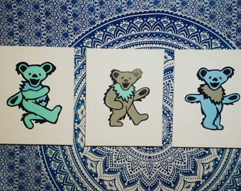 Set of 3 Dancing Bears 16×20 Canvas (your color choice)
