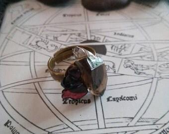 Smoky quartz and garnet ring