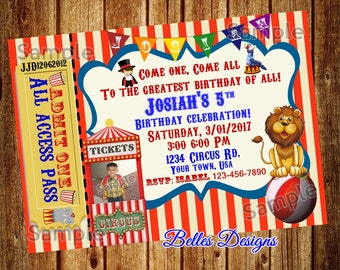 Circus, Circus Birthday, Party, Child's Circus Invitation,With photo,DIGITAL FILE, 4x6, 5x7, (Sale)