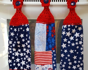 Handmade crochet top kitchen hand towels/hanging towels/crochet top towel/ summer towel/ Memorial Day/4th of July/red white and blue/