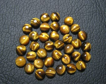 Natural Tiger Eye Cabochon Round shape Loose Semi Precious Gemstone Cabochon Size 8 mm Approx Code 8214 -For One Piece