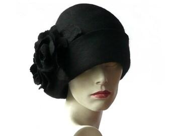 Black Felt Hat, felt hats, Black Cloche Hat, hat, 1920 Hat, Art, Black Hat Cloche, Victorian Hat,1920's Hats, Women's Hat , Felt Hat