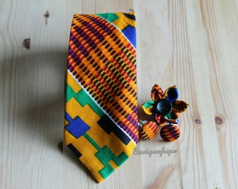 Yellow Kente tie- Mens Necktie- Groomsman Necktie- Mens Neckties- Mens Ties Grooms Necktie- Wedding Necktie- Bow Ties- Mens Bow Ties