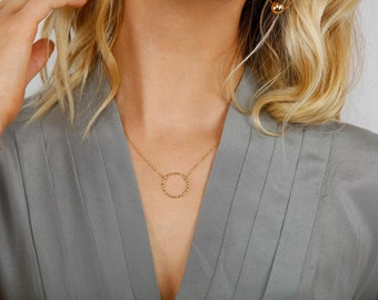 Gold Circle Necklace, Medium Circle Necklace Gold, Gold Hammered Circle Necklace, Hammered Circle, Hammered Gold Karma Necklace, Karma Charm