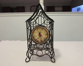"Vintage Black Metal ""Paris"" Bird House Clock"