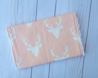 Pink Deer Head Burp Cloth - woodland baby, buck head, deer antler, buck forest, burpcloth for girl, burp rag, baby girl, baby shower gift