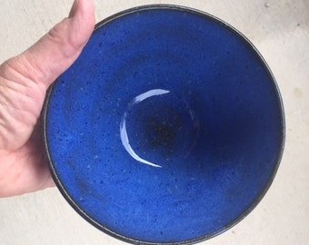 Blue pottery bowls, Ceramic bowl, blue bowl, medium size bowl, salad bowl, pasta bowl, soup bowl