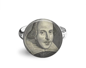 William Shakespeare, 12mm Adjustable Ring, Shakespeare Jewelry, Literary Gifts