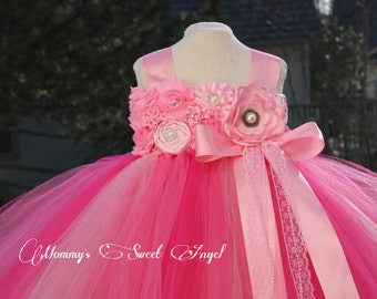 Flower girl tutu dress. Shades of Pink tutu dress. Flower girl dress. Birthday tutu dress. Pageant tutu. More colors available.