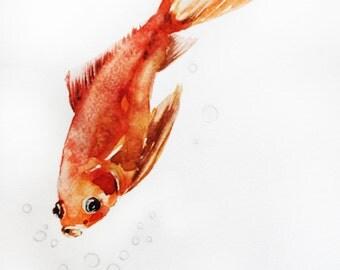 ORIGINAL Watercolor Painting, Gold fish watercolor, Goldfish art, Sea art, children room art, Goldfish gift,  wall art, Ocean Art OOAK