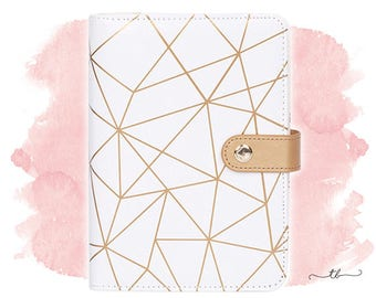 Planner binder A6/personal geometric white and gold