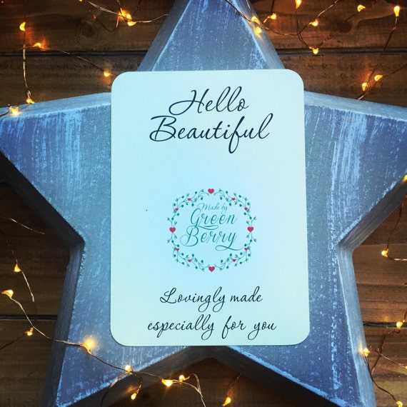 Hello beautiful quote card with choice of charm madebygreenberry wish bracelet