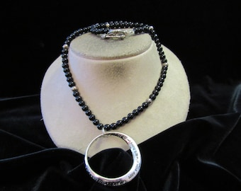 Vintage Black Glass Beaded Silver Pendant Toggle Necklace