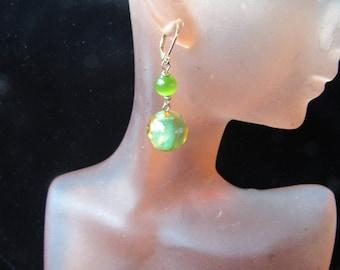 Vintage Pair Of Green & Yellow Beaded Pierced Dangle Earrings