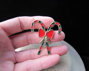 Vintage Christmas Red & Green Enameled Candy Canes Pin